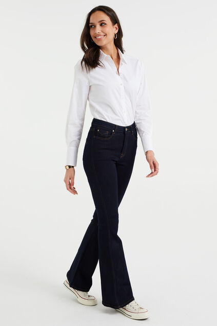 Dames high rise flared jeans met stretch Donkerblauw