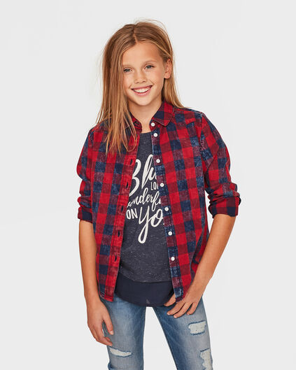 MEISJES CHECKED BLOUSE Rood