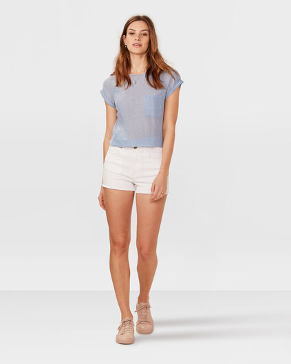 DAMES HIGH RISE DENIM SHORT Wit