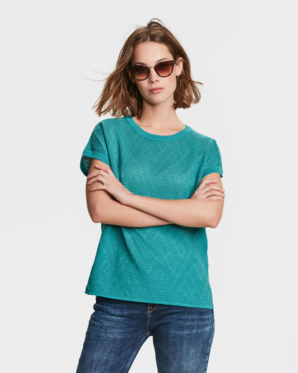 DAMES ZIGZAG RIB TOP Turkoois