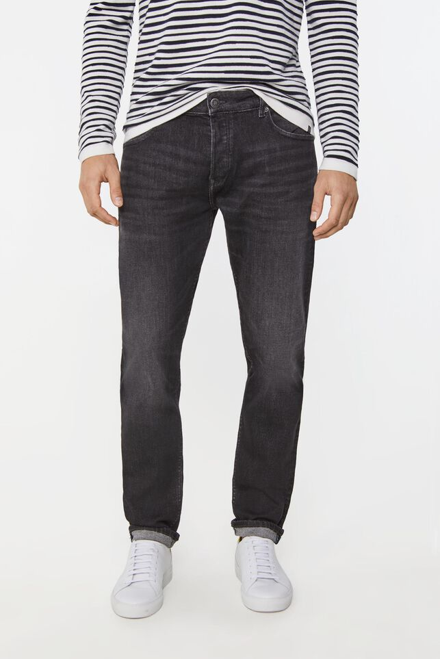 Heren tapered fit jog denim jeans Zwart