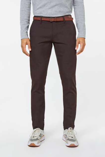 Heren slim tapered gemêleerde chino Bruin