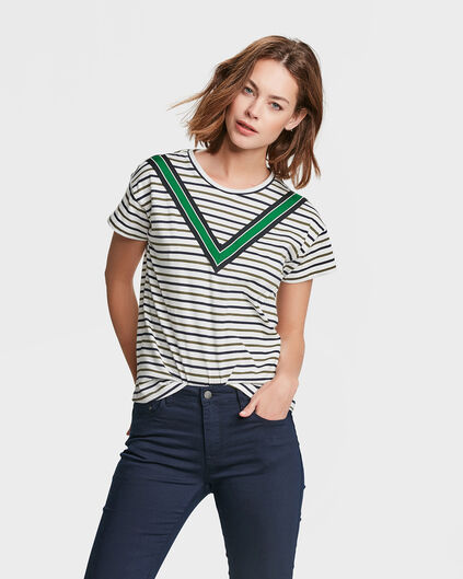 DAMES SPORTY STRIPE T-SHIRT Legergroen
