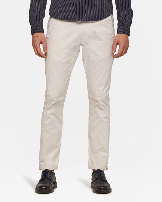 HEREN SLIM TAPERED CHINO Gebroken wit