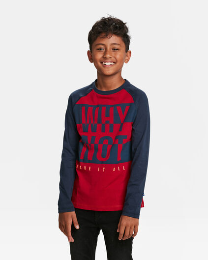 JONGENS WHY NOT PRINT T-SHIRT Bordeauxrood