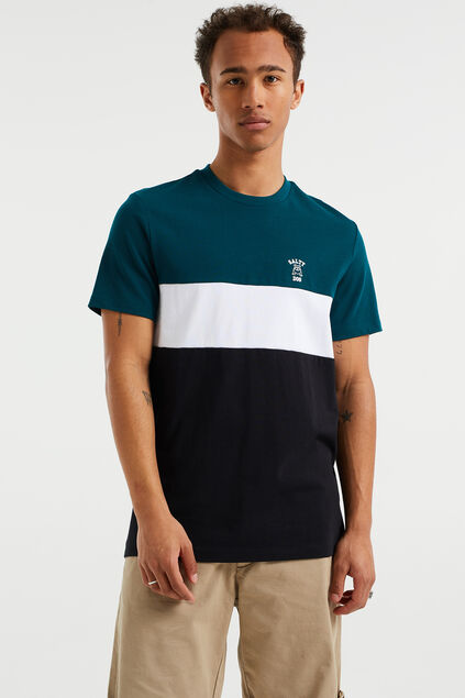 Heren T-shirt met colourblock Groen
