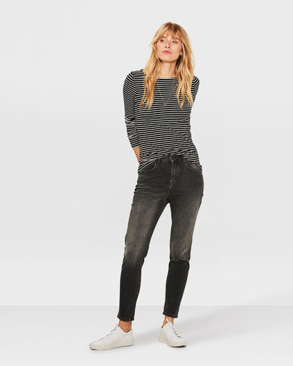 DAMES HIGH RISE TAPERED GIRLFRIEND COMFORT STRETCH JEANS Zwart