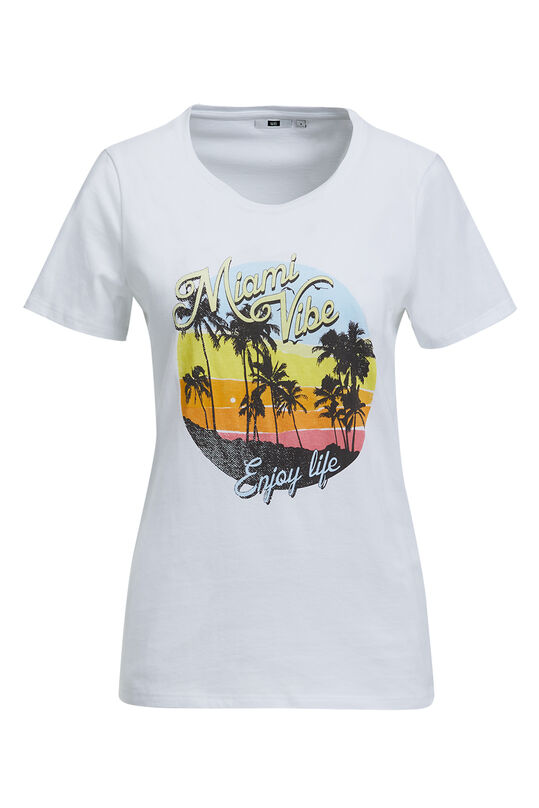 Dames T-shirt met surfprint Wit