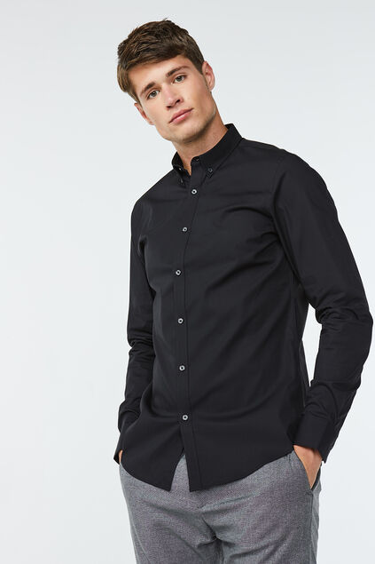 Heren slim fit button-down stretch overhemd Zwart