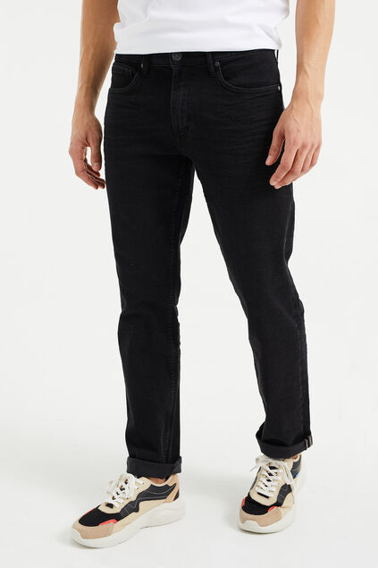 Heren regular fit jeans met super stretch Antraciet