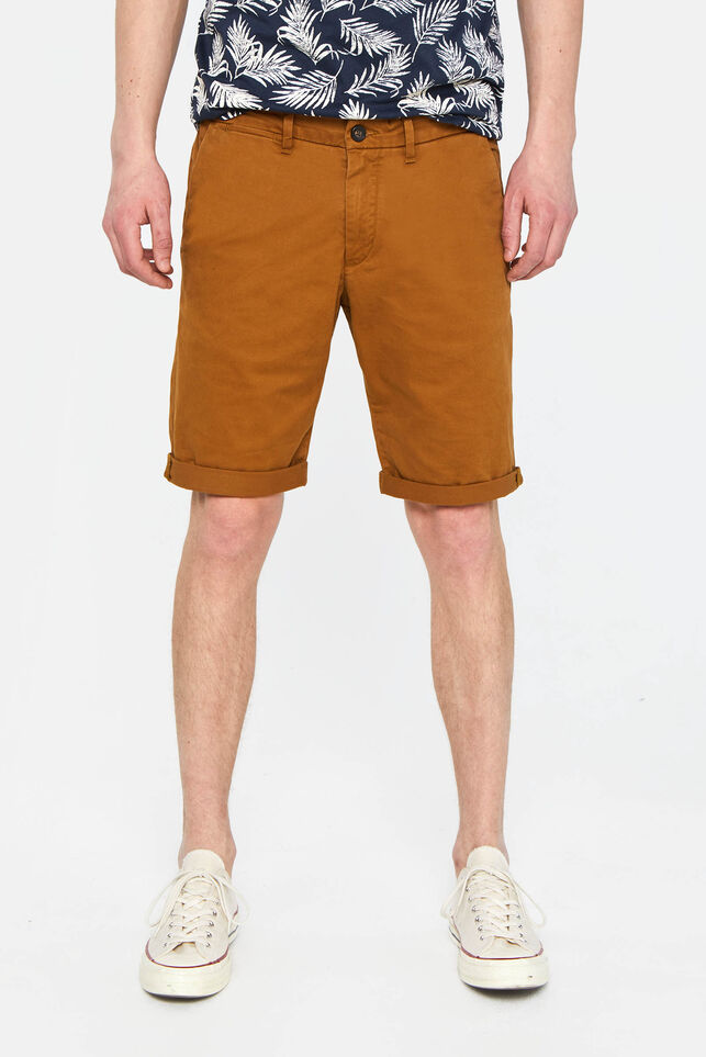 Heren tall fit chinoshort met stretch Bruin