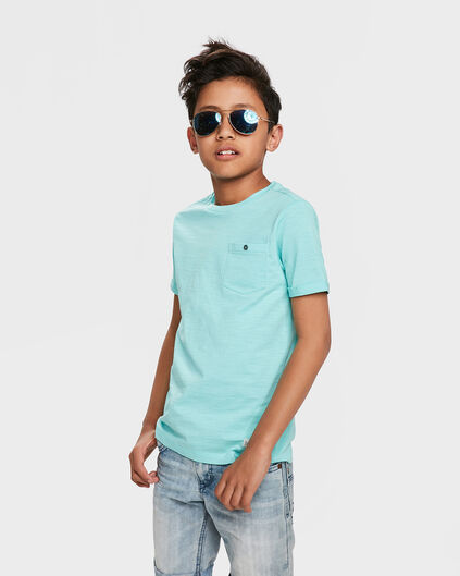 JONGENS ONE POCKET R-NECK T-SHIRT Mintgroen