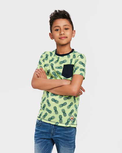 JONGENS ONE POCKET ANANAS PRINT T-SHIRT Felgroen