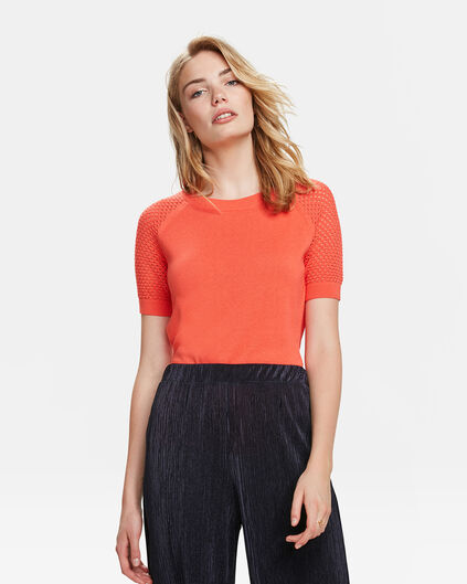 DAMES KNIT PATTERN TOP Oranje