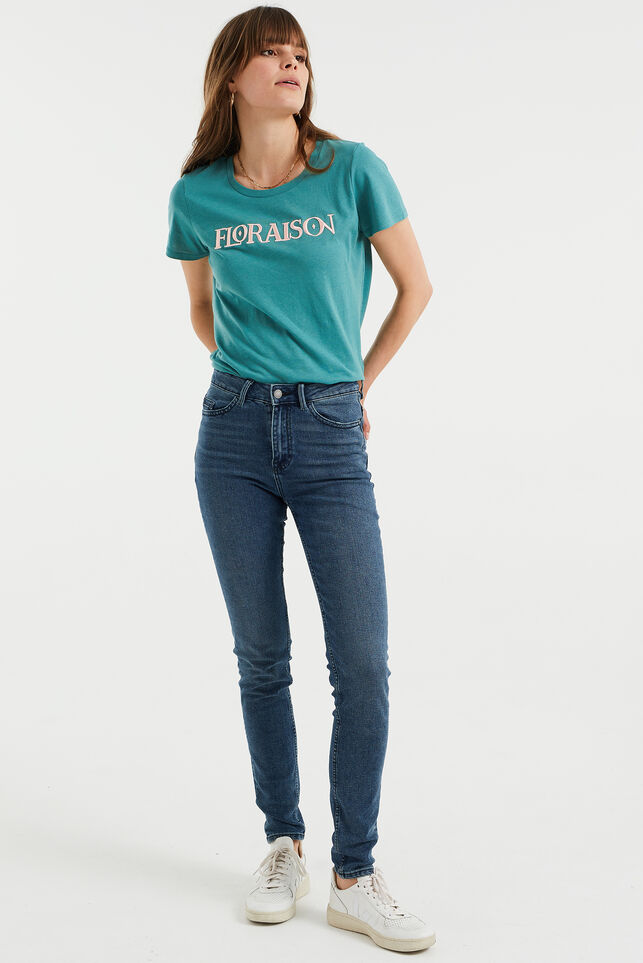 Dames high rise skinny jeans met comfort stretch Blauw