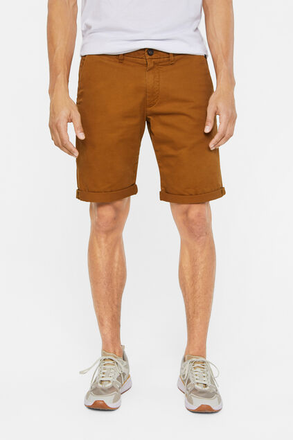 Heren slim fit chinoshort met stretch Bruin