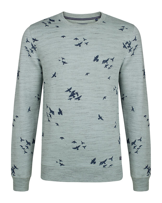 HEREN MELANGE BIRD PRINT SWEATER Mintgroen
