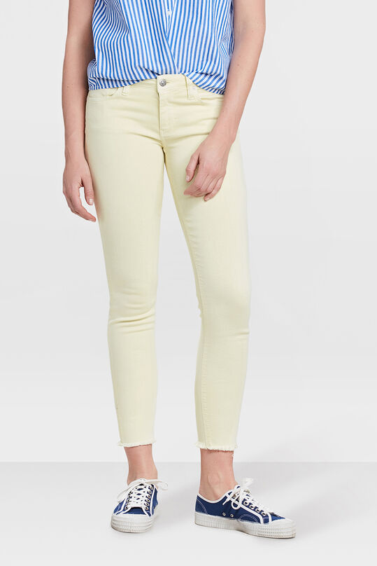 DAMES MID RISE SKINNY HIGH STRETCH CROPPED COLOURED BROEK Geel