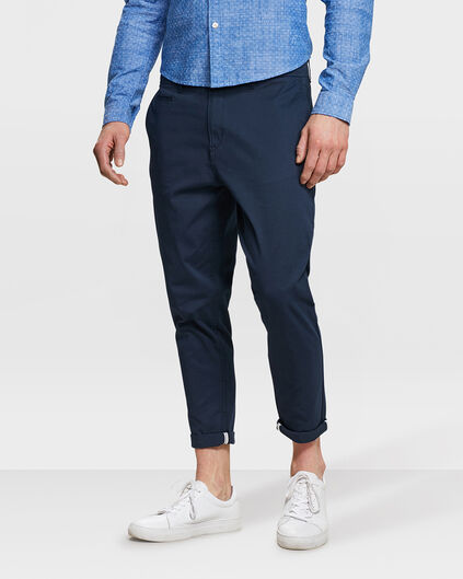 HEREN LOOSE FIT CROPPED CHINO Marineblauw
