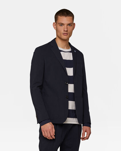 Heren Loose Fit seersucker blazer Ichi Blauw