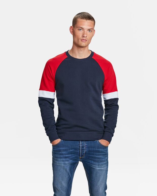 HEREN COLOURBLOCK SWEATER Marineblauw