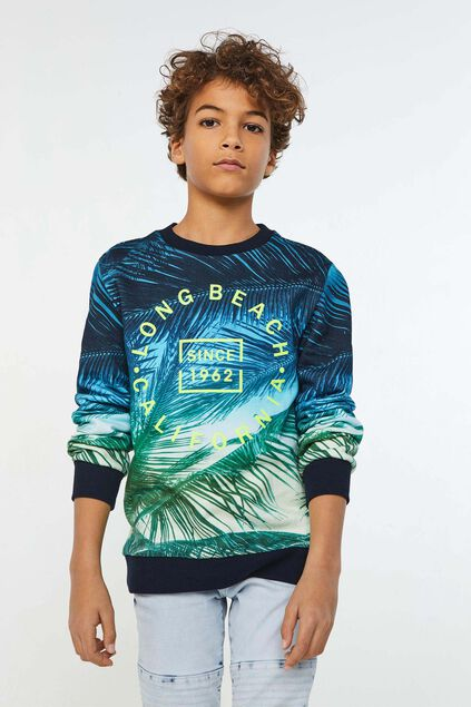 Jongens sweater met bladerendessin All-over print