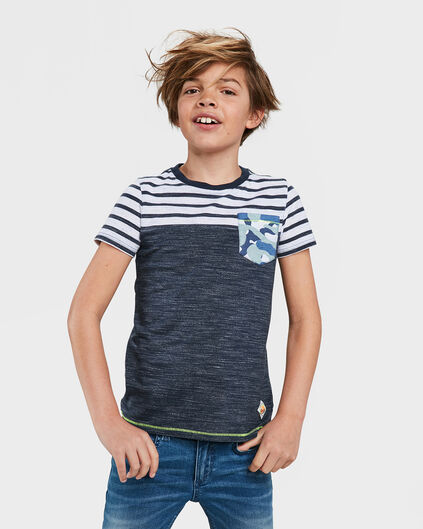 JONGENS ONE POCKET GESTREEPT T-SHIRT Donkerblauw
