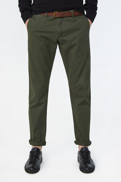 Heren slim tapered effen chino Legergroen