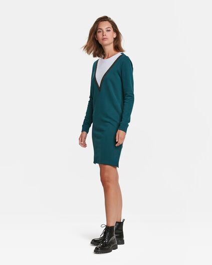 DAMES COLOURBLOCK SWEAT JURK Petrol