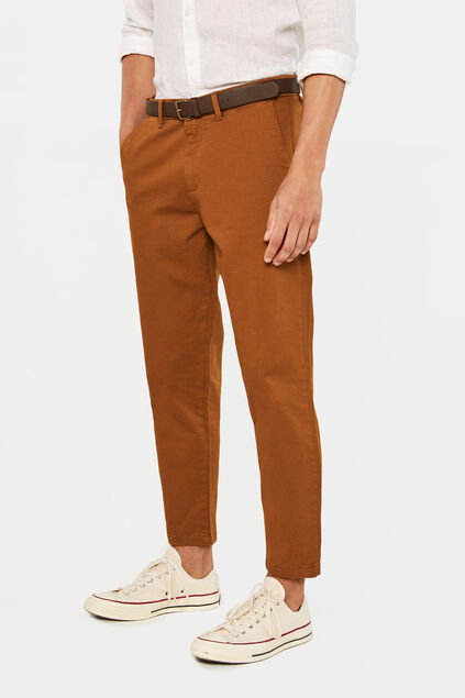 Heren loose fit chino Bruin