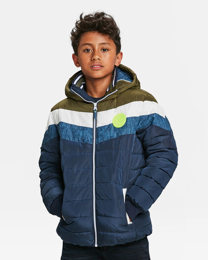 JONGENS COLOURBLOCK PUFFER JACKET Olijfgroen