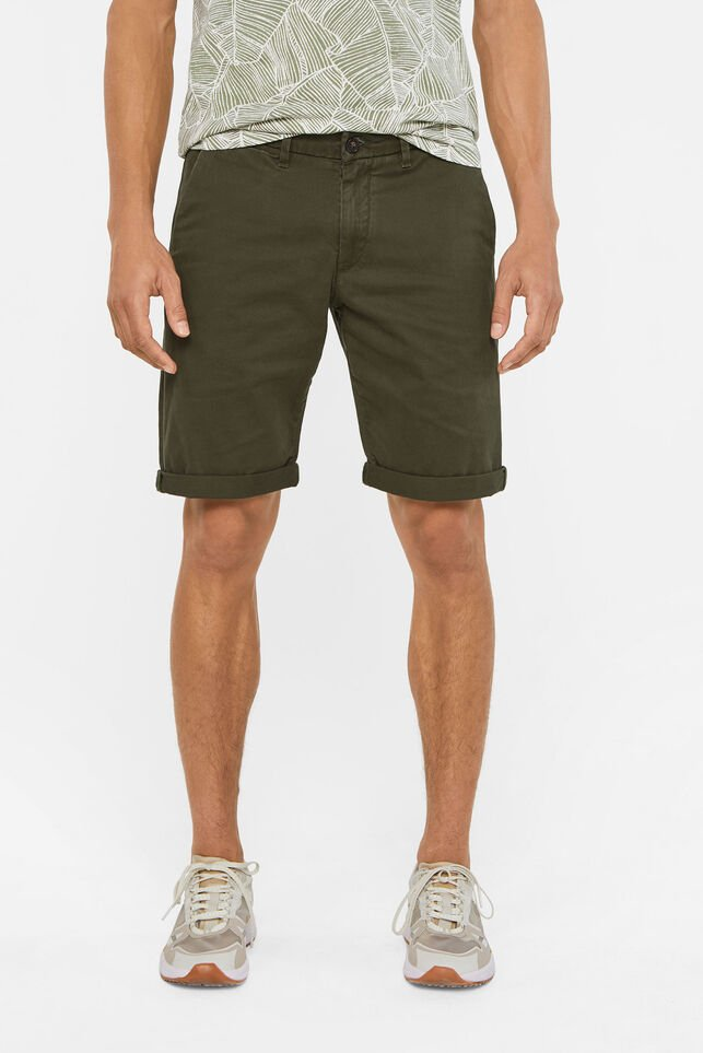 Heren slim fit chinoshort Legergroen