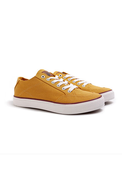 Heren sneakers van canvas Mosterdgeel