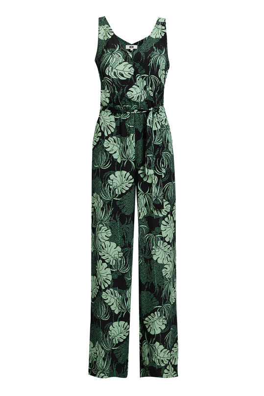 Dames jumpsuit met bladerendessin All-over print