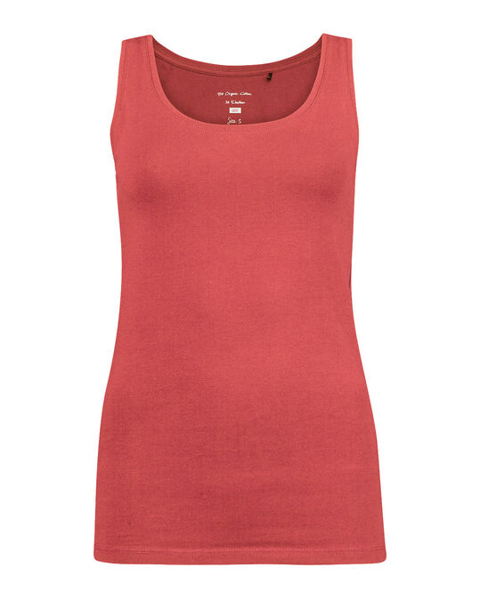 DAMES ORGANIC COTTON SINGLET Donkerrood