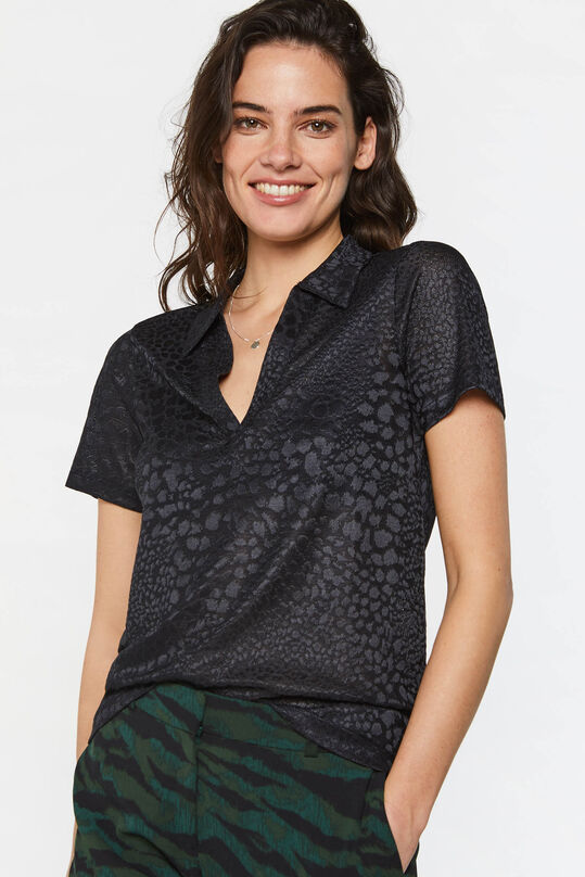Dames semi-transparante top met polokraag All-over print