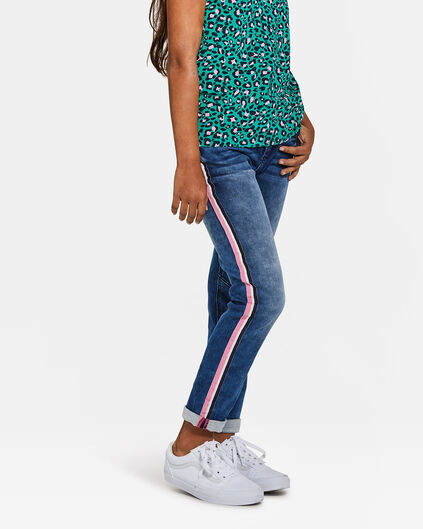 Meisjes boyfriend fit side tape jog denim jeans Blauw