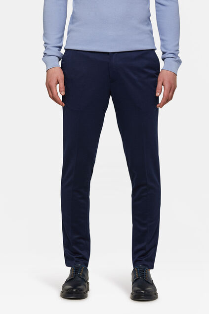 Heren slim fit pantalon Marineblauw