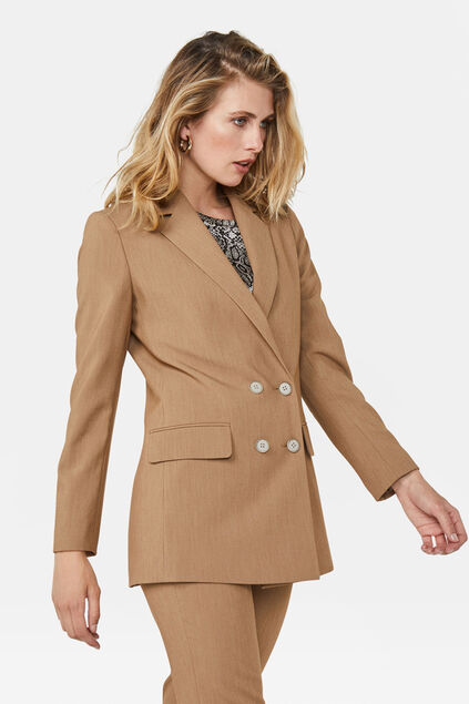 Dames regular fit double breasted blazer Lichtbruin