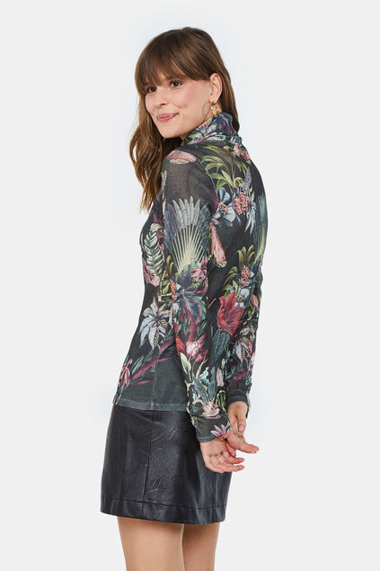 Dames bloemendessin top met colkraag All-over print