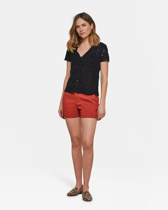 Dames slim fit chino short Roestbruin