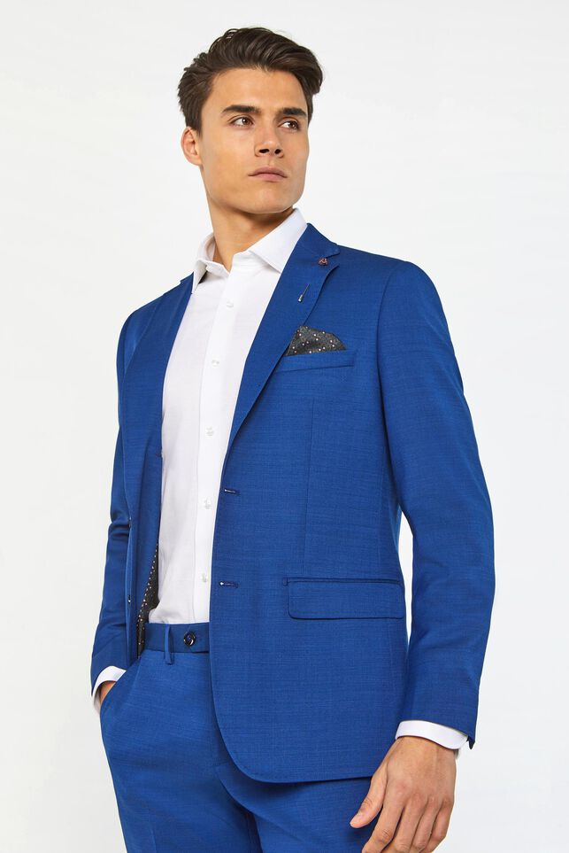 Heren regular fit blazer Johnson Blauw