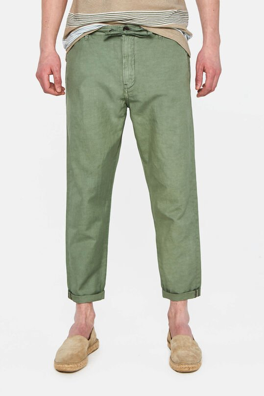 Heren slim fit cropped chino van linnenmix Legergroen