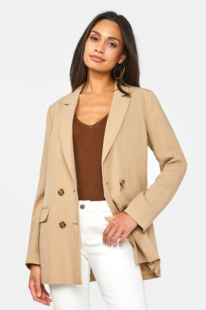 Dames double breasted blazer Beige