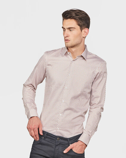 HEREN SLIM FIT PRINTED OVERHEMD Beige