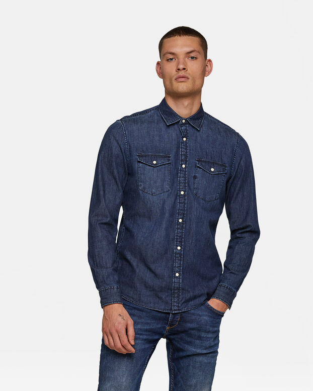Heren slim fit denim overhemd Indigo