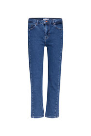 Dames high rise straight leg jeans_Dames high rise straight leg jeans, Donkerblauw