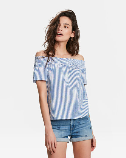 DAMES OFF-SHOULDER GESTREEPTE SMOCK TOP Blauw