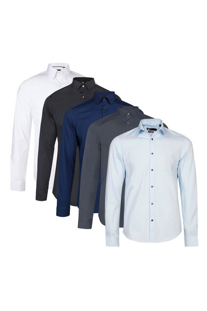 Heren slim fit overhemd met stretch 5-pack
