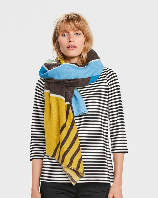 DAMES COLOUR BLOCK SJAAL Groen